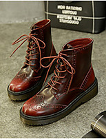 Women's Shoes  Low Heel Round Toe Boots Casual Gray / Burgundy