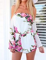 Women's Floral / Patchwork White Jumpsuits , Sexy / Casual Bateau ¾ Sleeve