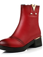 Women's Shoes Chunky Heel / Fashion Boots / Round Toe Boots Dress / Casual Black / Brown / Red