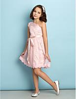 Kant A-Lijn Een schouder Bruidsmeisjesjurk -met Blozend Roze Knie-Lengte