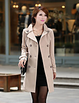 Women's Solid Pink / Black / Almond All Match Fashion Coat , Bodycon / Casual Long Sleeve Polyester