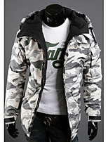 Men's Long Sleeve Jacket , Cotton Blend Casual Print Coats