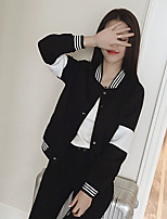 Women's Striped / Solid / Color Block White / Black Cardigan , Casual / Cute / Party Long Sleeve