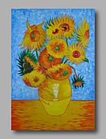 peinture à l'huile abstraite toile van gogh repro tournesols peints à la main bleu déco maison un panneau