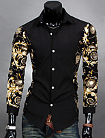 Men's Long Sleeve Shirt , Cotton Blend Casual Print