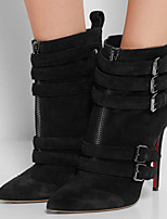 Women's Shoes Leather Stiletto Heel Fashion Boots / Bootie Boots Office & Career / Party & Evening / Dress Black