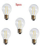 5pcs HRY® A60 2W E27 250LM 360 Degree Warm/Cool White Color Edison Filament Light LED Filament Lamp (AC220V)