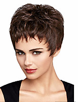 Capless Short Dark Brown Curly Synthetic Wig Side Bang