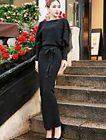 Women's Solid White / Black / Orange Dress , Bodycon / Maxi Long Sleeve