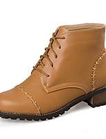 Zapatos de mujer - Tacón Bajo - Punta Redonda - Botas - Casual - Semicuero - Negro / Amarillo / Rojo