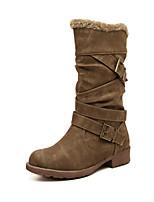 Women's Shoes Suede Low Heel Comfort Boots Outdoor Black / Brown / Khaki