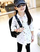 Girl's White Shirt , Dot Cotton Summer / Spring / Fall