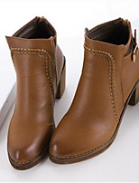 Women's Shoes Chunky Heel Round Toe Boots Casual Black / Brown