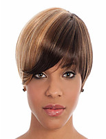 High Quality Synthetic Capless Short Straight Young Chestnut Mix Color Full Bang Wigs