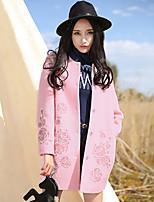 Women's Solid Pink / Gray Coat , Vintage / Plus Sizes Long Sleeve Tweed / Wool / Others