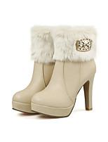 Women's Shoes Leatherette Stiletto Heel Combat Boots Boots Casual Black / Yellow / Beige