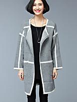 Women's Color Block Blue / Yellow / Gray Cardigan , Vintage Long Sleeve
