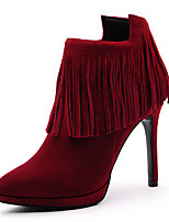 Women's Shoes Suede Stiletto Heel Heels / Round Toe Boots Wedding / Dress / Casual Black / Red