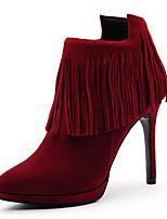 Zapatos de mujer - Tacón Stiletto - Tacones / Punta Redonda - Botas - Boda / Vestido / Casual - Ante - Negro / Rojo