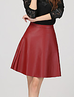 Women's Solid Red / Black Skirts , Casual Above Knee