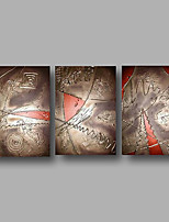 Hand-Painted Oil Painting on Canvas Wall Art Contempory Abstract Brown Red Home Deco Three Panel Ready to Hang
