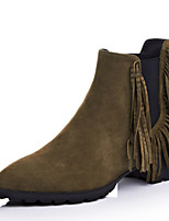 Women's Shoes Leather Chunky Heel Fashion Boots / Pointed Toe Boots Dress / Casual Black / Green
