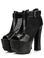 Women's Shoes  Chunky Heel Peep Toe Boots Casual Black