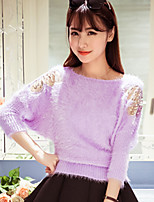 Women's Sweet Bowknot Solid Mohair Batwing Sleeve All Match Pullover