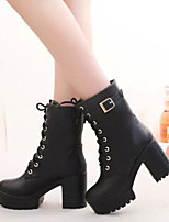 Women's Shoes New Arrival Flange Lace-Up Chunky Heel Bootie / Round Toe Boots Casual Black