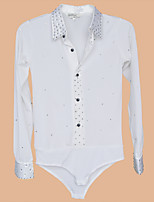 Latin Dance Tops Men's Performance / Training Spandex Buttons / Crystals/Rhinestones 1 Piece White