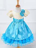 Girl's Blue / Pink / Red Dress , Bow Cotton Blend / Mesh Summer / Spring / Fall