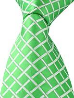 Grid Pattern Green Silk Jacquard Men Adult Leisure Necktie