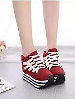 Scarpe Donna - Scarpe da ginnastica - Tempo libero / Formale / Casual - Creepers - Plateau - Di pelle - Nero / Rosso