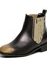 Chaussures Femme - Décontracté - Argent / Or - Gros Talon - Bout Arrondi - Bottes - Similicuir