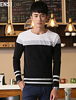 New winter spell to men's long sleeve round collar T-shirt stripe cotton young han edition cultivate one's morality