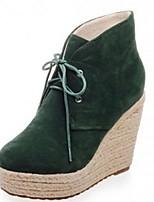 Zapatos de mujer - Tacón Cuña - Botas a la Moda - Botas - Oficina y Trabajo / Vestido / Casual - Vellón - Negro / Gris