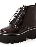 Women's Shoes Leather Platform Fashion Boots / Round Toe Boots Dress / Casual Black