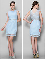 Knee-length Chiffon / Lace Bridesmaid Dress - Sky Blue Sheath/Column Scoop