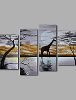 Hand-Painted Oil Painting on Canvas Wall Art Landscape African Animals Giraffes Four Panel Ready to Hang