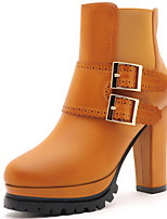 Women's Shoes Synthetic Chunky Heel Heels / Snow Boots / Fashion Boots Party & Evening / Dress / Casual Black / Brown