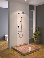 Shower Faucet Contemporary Chrome Wall Mounted Double Handles Brass with  Square Shower Head and Hand Shower