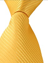 Men Pure Yellow Tie Business Leisure Career Jacquard Necktie