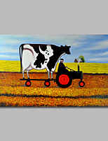 Hand-Painted Oil Painting on Canvas Wall Art Heavy Oils Animals Cow Farm Home Deco One Panel Ready to Hang
