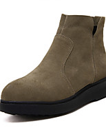 Women's Shoes Suede Chunky Heel Styles Boots Outdoor / Casual Black / Khaki