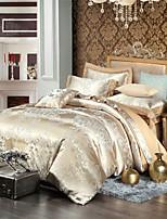 estilo retro royal cama jacquard bege set 4 peças