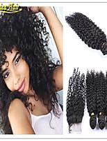4 pc / lotto di grado 8a malesi fasci di capelli ricci con la trama chiusura malese capelli vergini riccio crespo dei capelli umani