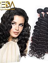 3pcs / lot onbewerkte maagdelijke Indische haar diepe golf human hair extensions natuurlijke zwarte 8 '' - 30 '' menselijk haar weeft