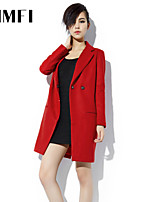 Women's Solid Red/Black Blazer , Vintage/Casual Shirt Collar Long Sleeve Button