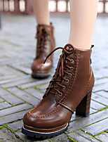 Women's Shoes Antiskid All Match Chunky Heel Comfort Boots Dress / Casual Black / Brown