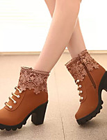 Women's Shoes Chunky Heel Comfort / Round Toe Zipper Ankle Boots Dress / Casual Black / Yellow